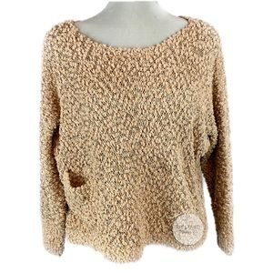 QED LONDON Sequin Open-knit Sweater Front Pocket M